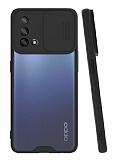 Lens Thin Oppo A74 Kamera Korumalı Siyah Silikon Kılıf