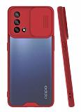 Lens Thin Oppo A74 Kamera Korumalı Kırmızı Silikon Kılıf