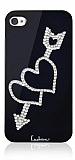 Leshine iPhone 4 / 4S Çift Kalpli Taşlı Siyah Kılıf
