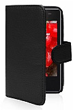 LG E430 Optimus L3 II Cüzdanlı Yan Kapaklı Siyah Deri Kılıf