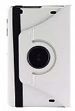 LG G Pad 10.1 V700 360 Derece D�ner Standl� Beyaz Deri K�l�f