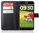 LG G Pro Lite C�zdanl� Yan Kapakl� Siyah Deri K�l�f