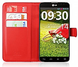 LG G Pro Lite C�zdanl� Yan Kapakl� K�rm�z� Deri K�l�f
