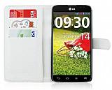 LG G Pro Lite C�zdanl� Yan Kapakl� Beyaz Deri K�l�f