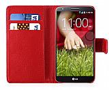 LG G2 Cüzdanlı Yan Kapaklı Kırmızı Kılıf