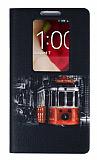 LG G2 Pencereli �nce Yan Kapakl� T�nel Deri K�l�f