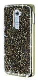 LG G2 Metal Kenarl� Ta�l� Gold Rubber K�l�f