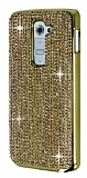 Eiroo Glows LG G2 Metal Kenarl� Ta�l� Gold Rubber K�l�f