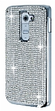 LG G2 Metal Kenarl� Ta�l� Silver Rubber K�l�f