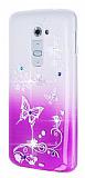 LG G2 Ta�l� Mor Kelebek Silikon K�l�f