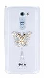 LG G2 Taşlı Kelebek Şeffaf Silikon Kılıf
