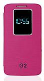 LG G2 Uyku Modlu Pencereli Pembe Deri Kılıf