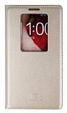 LG G2 Uyku Modlu Pencereli Gold Deri Kılıf
