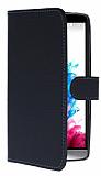 LG G3 S / G3 Beat Cüzdanlı Yan Kapaklı Siyah Deri Kılıf