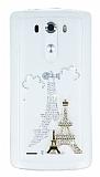 LG G3 Taşlı Paris Şeffaf Silikon Kılıf