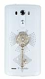 LG G3 Taşlı Anahtar Şeffaf Silikon Kılıf