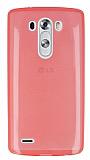 LG G3 Ultra İnce Şeffaf Koyu Pembe Silikon Kılıf