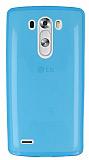LG G3 Ultra İnce Şeffaf Mavi Silikon Kılıf