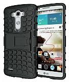 LG G3 Ultra Süper Koruma Standlı Siyah Kılıf