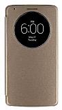 LG G3 Uyku Modlu Pencereli Gold Deri Kılıf