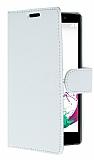 LG G4 Beat Cüzdanlı Yan Kapaklı Beyaz Deri Kılıf