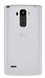 LG G4 Stylus Şeffaf Beyaz Silikon Kılıf