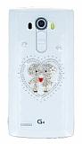 LG G4 Taşlı Love Şeffaf Silikon Kılıf