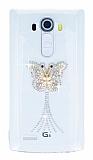LG G4 Taşlı Kelebek Şeffaf Silikon Kılıf