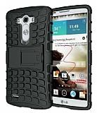 LG G4 Ultra Süper Koruma Standlı Siyah Kılıf