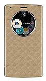 LG G4 Uyku Modlu Pencereli Flip Cover Gold Kılıf
