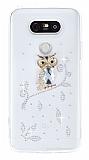 LG G5 Taşlı Baykuş Şeffaf Silikon Kılıf