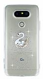 LG G5 Taşlı Kuğu Şeffaf Silikon Kılıf