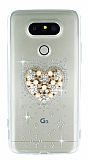 LG G5 Taşlı Kalp Şeffaf Silikon Kılıf