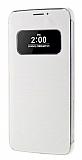 LG G5 Uyku Modlu Pencereli Silver Deri Kılıf