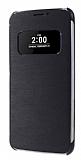 LG G5 Uyku Modlu Pencereli Siyah Deri Kılıf