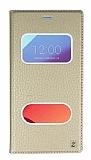 LG G6 Gizli Mıknatıslı Çerçeveli Gold Deri Kılıf