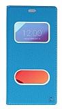 LG G6 Gizli Mıknatıslı Çerçeveli Mavi Deri Kılıf
