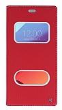 LG G6 Gizli Mıknatıslı Çerçeveli Kırmızı Deri Kılıf
