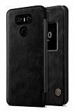 Nillkin LG G6 Pencereli Kapaklı Siyah Deri Kılıf