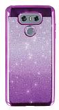 LG G6 Simli Parlak Mor Silikon Kılıf