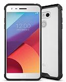 LG G6 Ultra Koruma Siyah Silikon Kenarlı Şeffaf Kılıf