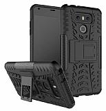 LG G6 Ultra Süper Koruma Standlı Siyah Kılıf