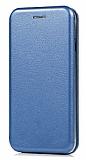 LG G7 ThinQ Curve Manyetik Kapaklı Lacivert Deri Kılıf