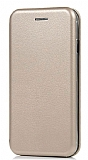 LG G7 ThinQ Curve Manyetik Kapaklı Gold Deri Kılıf