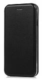 LG G7 ThinQ Curve Manyetik Kapaklı Siyah Deri Kılıf