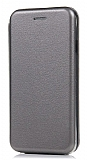 LG G7 ThinQ Curve Manyetik Kapaklı Silver Deri Kılıf