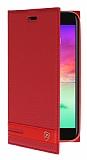 LG K10 2017 Gizli Mıknatıslı Yan Kapaklı Kırmızı Deri Kılıf