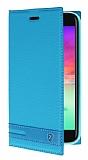 LG K10 2017 Gizli Mıknatıslı Yan Kapaklı Mavi Deri Kılıf