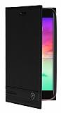 LG K10 2017 Gizli Mıknatıslı Yan Kapaklı Siyah Deri Kılıf