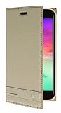 LG K10 2017 Gizli Mıknatıslı Yan Kapaklı Gold Deri Kılıf